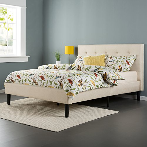 Zinus Upholstered Button Tufted Platform Bed with Wooden Slats
